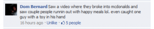 facebook comment about stealing happy meals