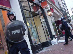 riot police outside orange