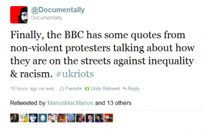 tweet about bbc news on riots 2
