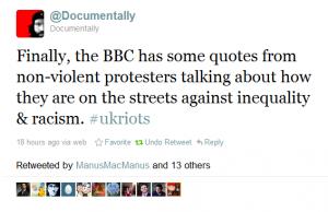 tweet about bbc news on riots 2