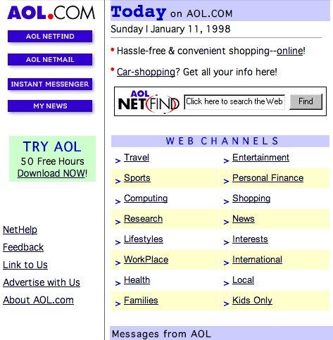 aol home page in 90s