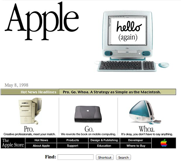 apple home page in 90s