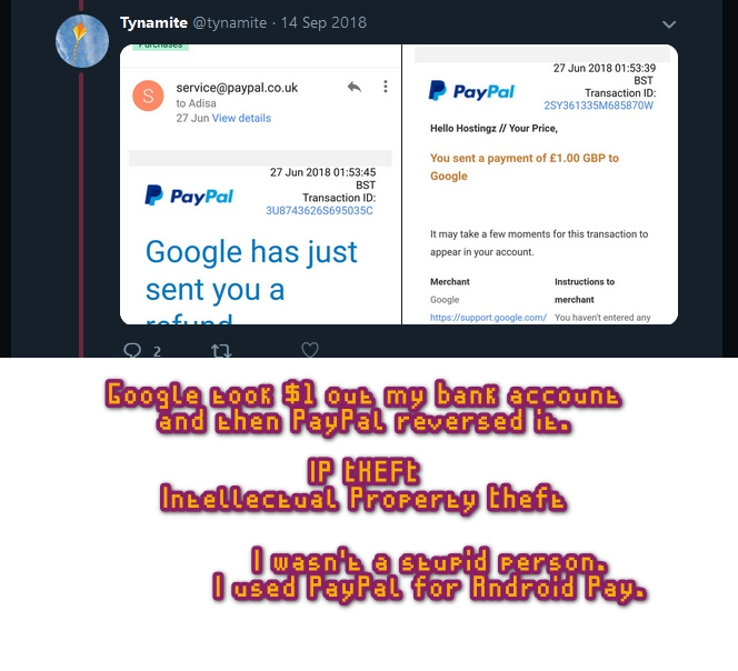 google stealing money off me and paypal reversing it