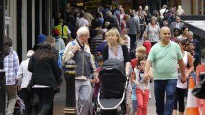 crowd in birmingham city centre